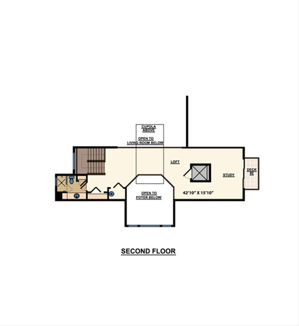 Beach Floor Plan - Upper Floor Plan Plan #548-10