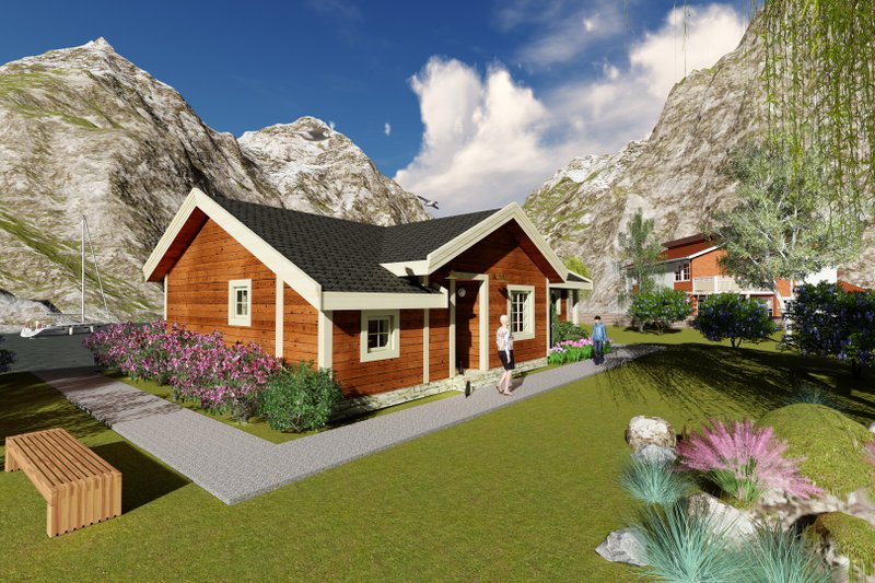 Cabin Style House Plan - 3 Beds 1 Baths 1427 Sq/Ft Plan #549-25 Exterior - Front Elevation