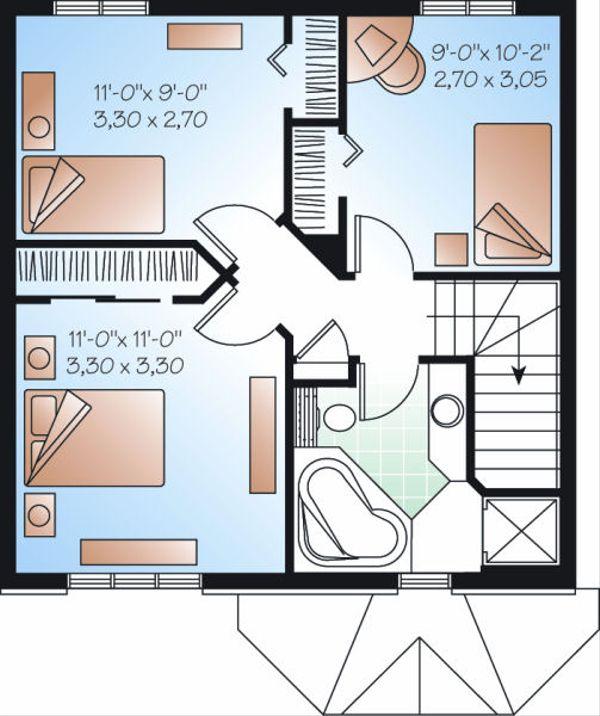Traditional Floor Plan - Upper Floor Plan #23-733