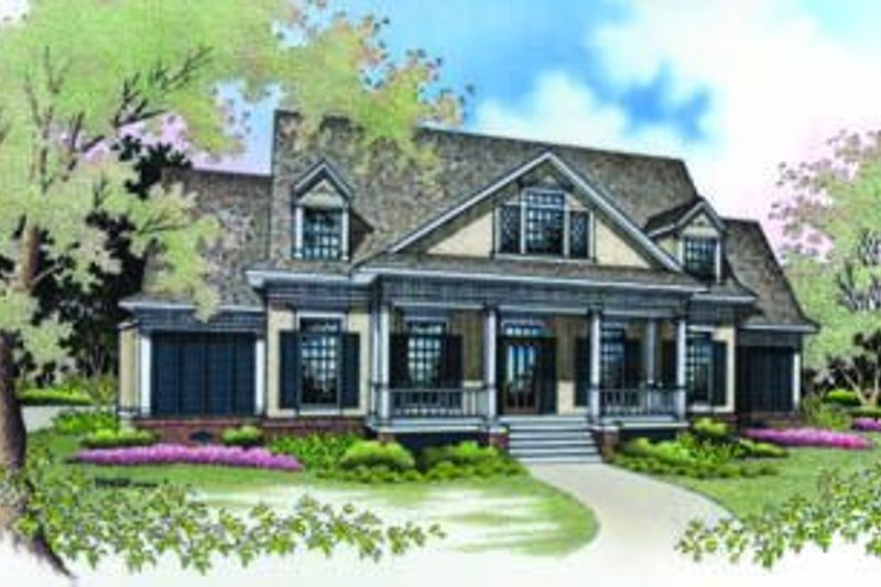 Southern Exterior - Front Elevation Plan #45-200