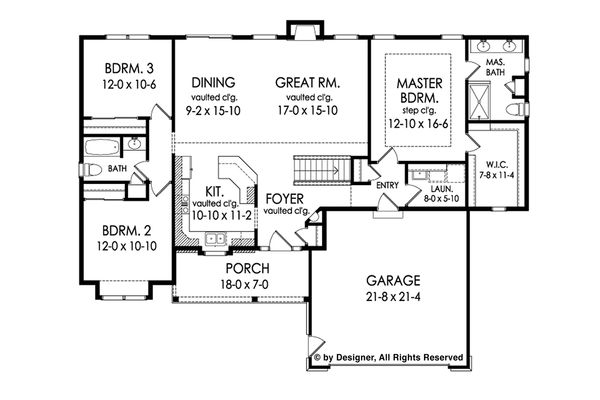 Ranch Floor Plan - Main Floor Plan Plan #1010-218