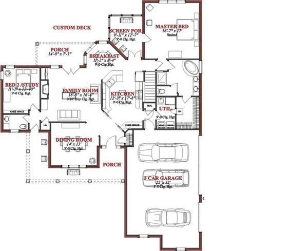 Country Floor Plan - Main Floor Plan Plan #63-190