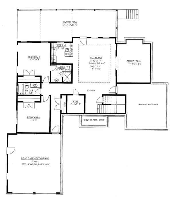 Country Floor Plan - Lower Floor Plan #437-120
