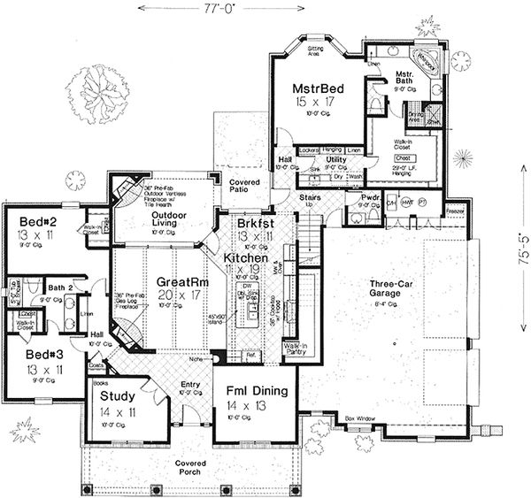 House Plan Design - European Floor Plan - Main Floor Plan #310-993