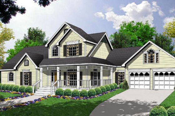 Country Exterior - Front Elevation Plan #40-128