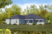 Country Style House Plan - 4 Beds 4.5 Baths 3491 Sq/Ft Plan #932-21 Exterior - Rear Elevation