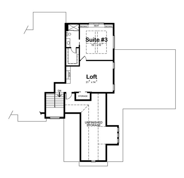 Craftsman Floor Plan - Upper Floor Plan Plan #20-2338