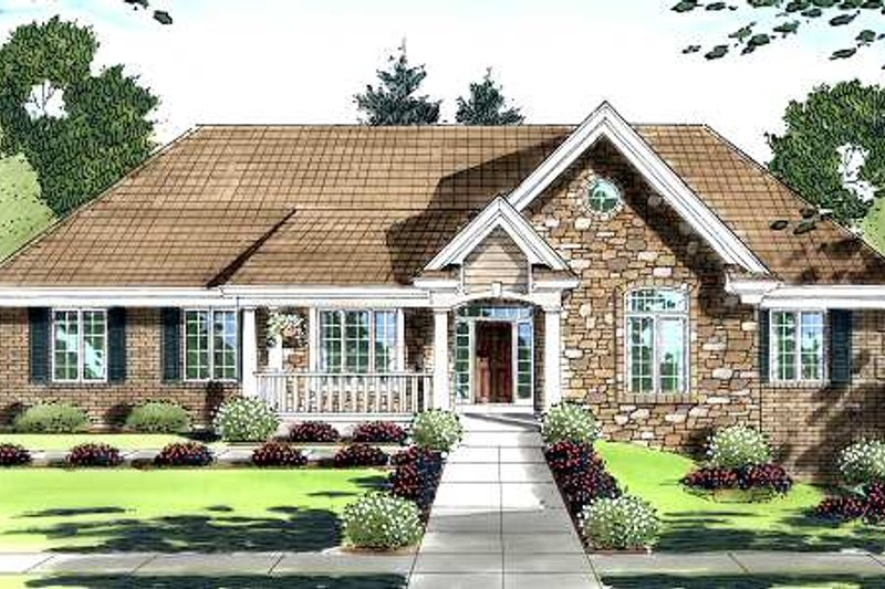 Traditional Exterior - Front Elevation Plan #46-409 - Houseplans.com