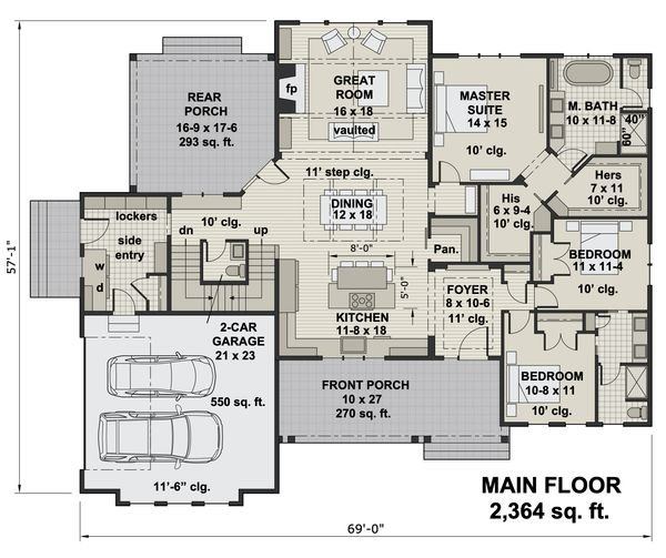 Dream House Plan - Farmhouse Floor Plan - Main Floor Plan #51-1159