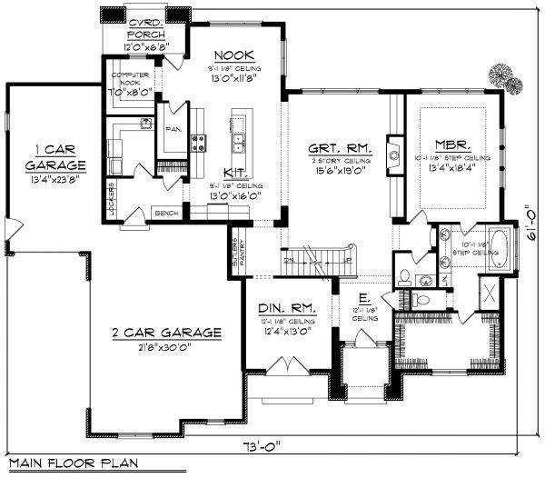 European Floor Plan - Main Floor Plan Plan #70-1179