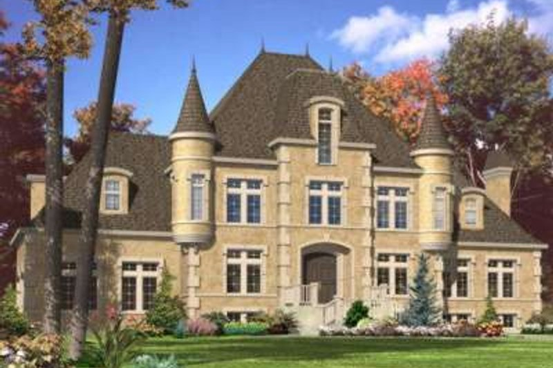 European Style House Plan - 4 Beds 2.5 Baths 3484 Sq/Ft Plan #138-113 Exterior - Front Elevation
