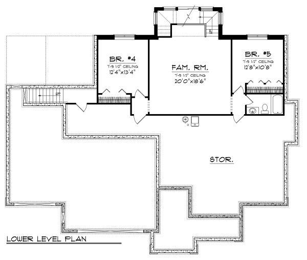 Ranch Floor Plan - Lower Floor Plan Plan #70-1124