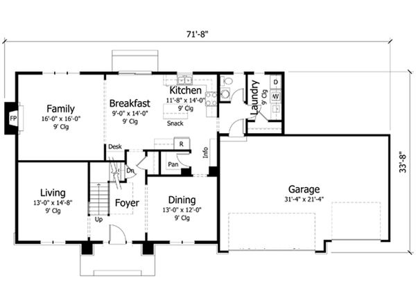 Craftsman Floor Plan - Main Floor Plan Plan #51-388