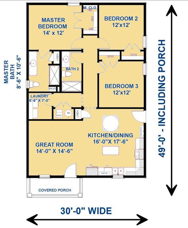 Cottage Floor Plan - Main Floor Plan Plan #44-229