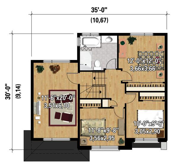 Contemporary Floor Plan - Upper Floor Plan Plan #25-4340