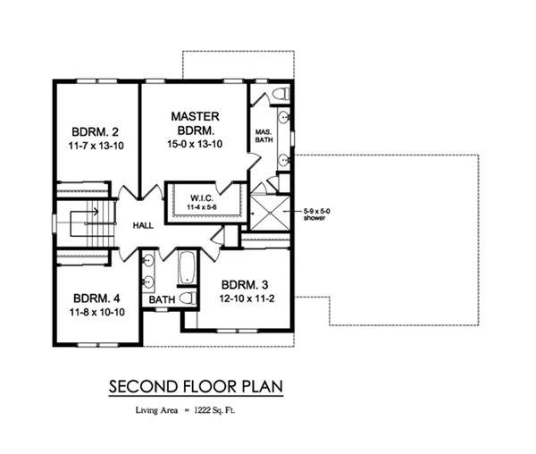 Traditional Floor Plan - Upper Floor Plan Plan #1010-231