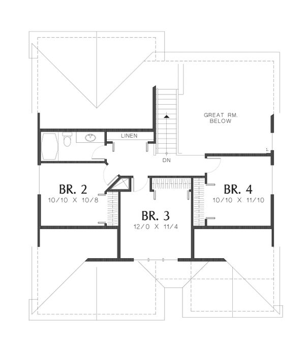 Craftsman Floor Plan - Upper Floor Plan Plan #48-609