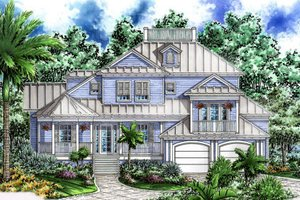 Beach Exterior - Front Elevation Plan #27-412