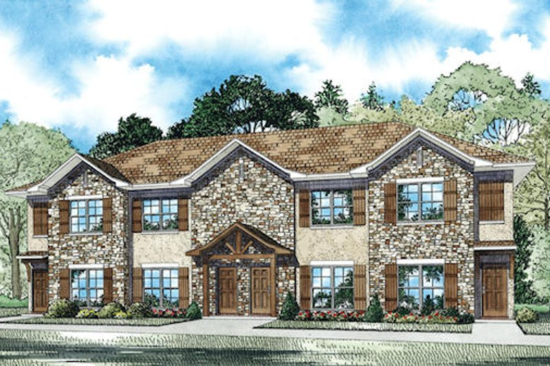 Traditional Style House Plan - 2 Beds 2 Baths 4160 Sq/Ft Plan #17-2468 Exterior - Front Elevation
