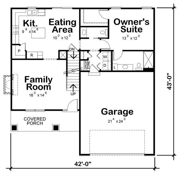 Craftsman Floor Plan - Main Floor Plan Plan #20-2353