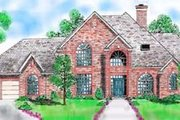 European Style House Plan - 4 Beds 3.5 Baths 3236 Sq/Ft Plan #52-153 Exterior - Front Elevation