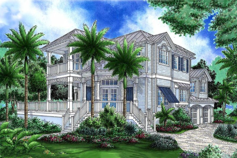 Beach Style House Plan - 4 Beds 4.5 Baths 6828 Sq/Ft Plan #27-567 Exterior - Front Elevation