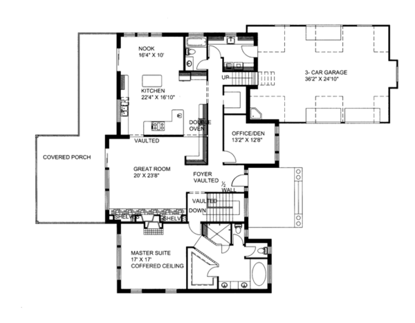 Ranch Floor Plan - Main Floor Plan Plan #117-850