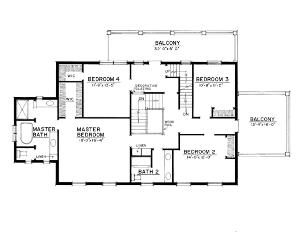 Colonial Floor Plan - Upper Floor Plan Plan #1016-100