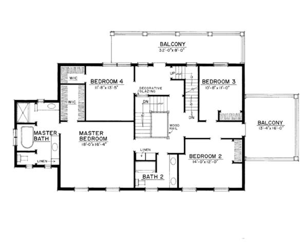 Dream House Plan - Colonial Floor Plan - Upper Floor Plan #1016-100