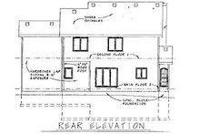 Colonial Exterior - Rear Elevation Plan #20-577