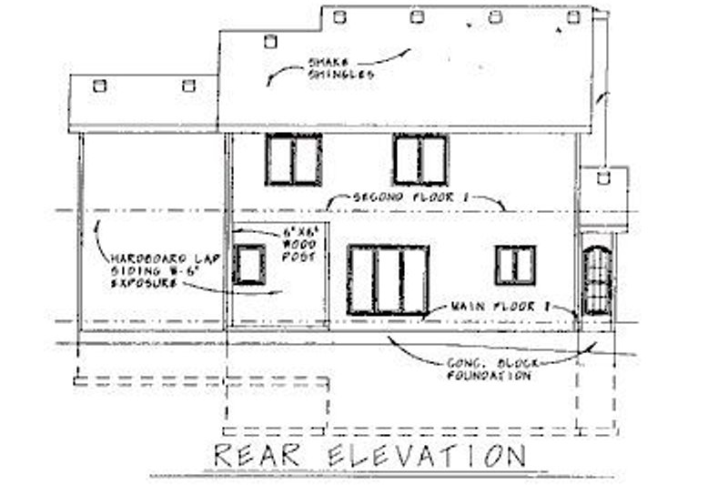 Colonial Exterior - Rear Elevation Plan #20-577 - Houseplans.com