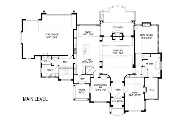 Architectural House Design - European Floor Plan - Main Floor Plan #920-64