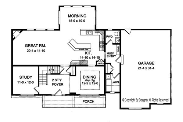 Colonial Floor Plan - Main Floor Plan Plan #1010-163