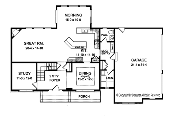 House Plan Design - Colonial Floor Plan - Main Floor Plan #1010-163