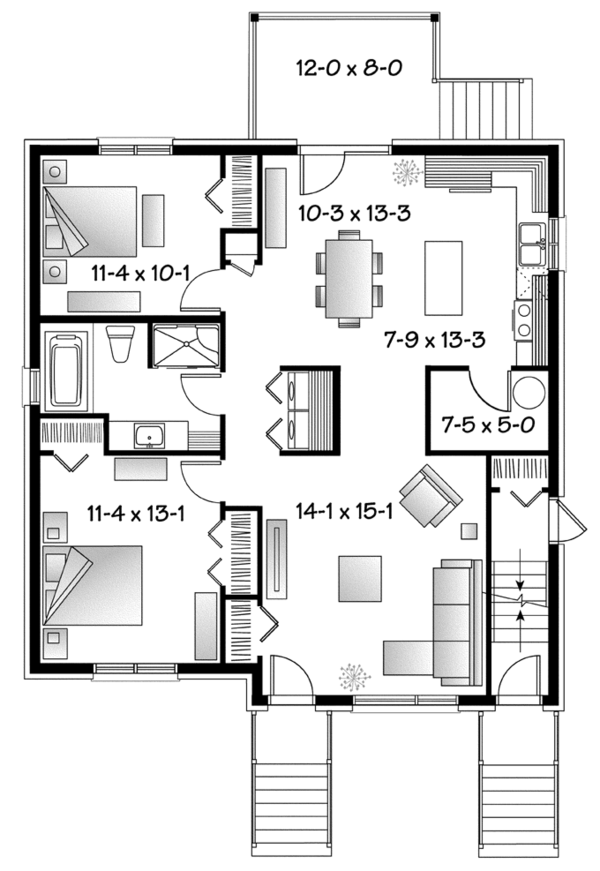 Contemporary Floor Plan - Main Floor Plan Plan #23-2595