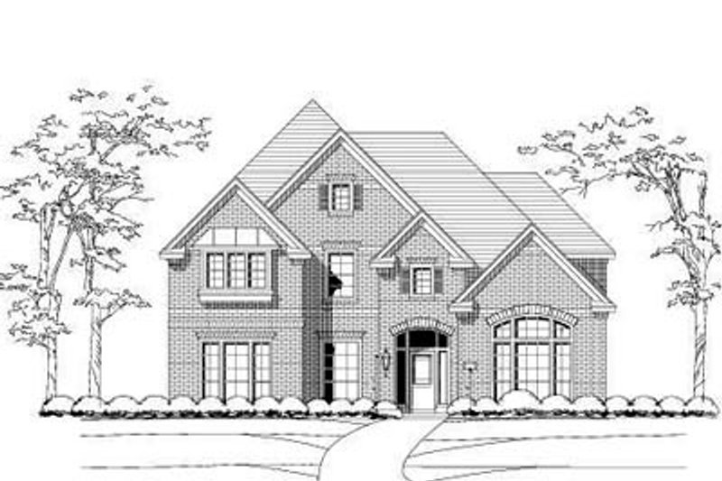 European Style House Plan - 5 Beds 4 Baths 4233 Sq/Ft Plan #411-105 Exterior - Front Elevation