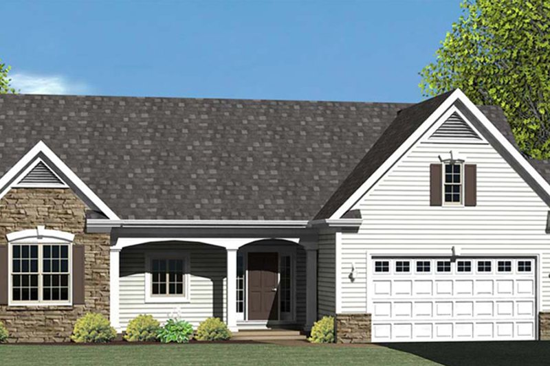 Ranch Exterior - Front Elevation Plan #1010-70