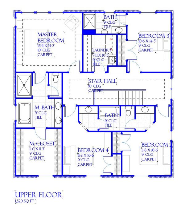 Traditional Floor Plan - Upper Floor Plan Plan #901-142