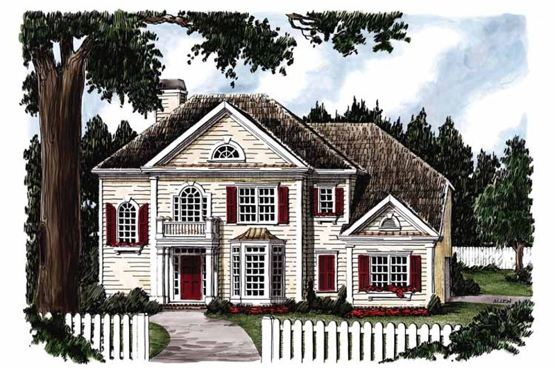 Colonial Exterior - Front Elevation Plan #927-706