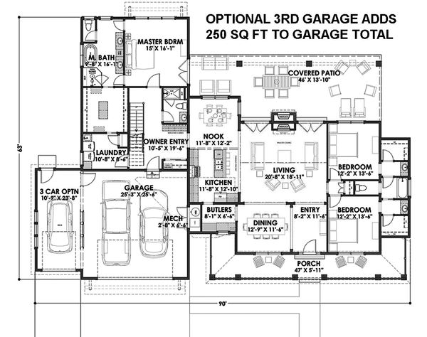 Country Floor Plan - Main Floor Plan Plan #1069-3