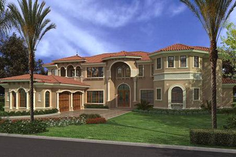 Mediterranean Style House Plan - 7 Beds 8.5 Baths 7502 Sq/Ft Plan #420-197 Exterior - Front Elevation