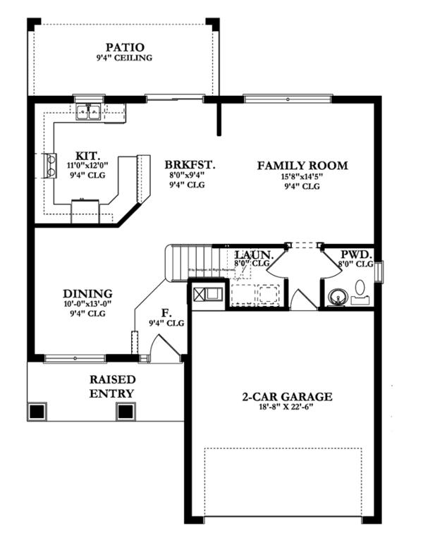 Prairie Floor Plan - Main Floor Plan Plan #1058-22