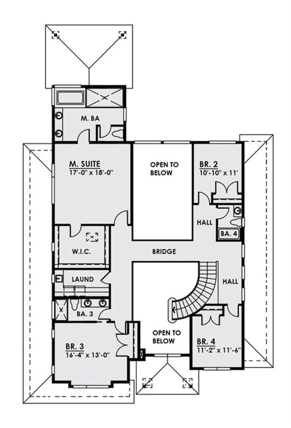 Contemporary Floor Plan - Upper Floor Plan Plan #1066-17