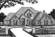 European Style House Plan - 4 Beds 3.5 Baths 3512 Sq/Ft Plan #310-227 Exterior - Front Elevation
