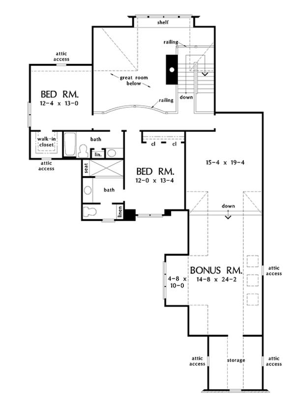 Traditional Floor Plan - Upper Floor Plan Plan #929-1014