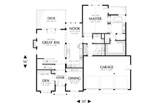 Main level floor plan - 2800 square foot Craftsman home
