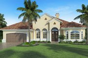 Mediterranean Style House Plan - 3 Beds 3.5 Baths 2723 Sq/Ft Plan #938-88 Exterior - Front Elevation