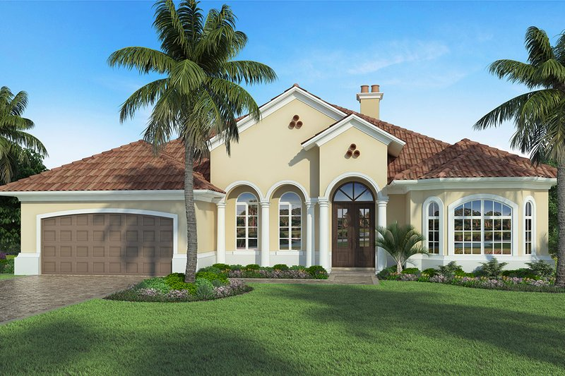 Mediterranean Exterior - Front Elevation Plan #938-88