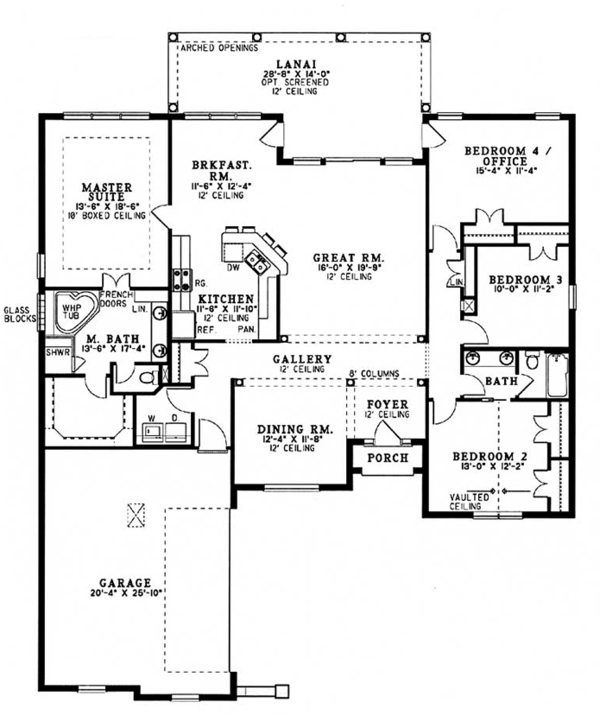 Mediterranean Floor Plan - Main Floor Plan Plan #17-3368