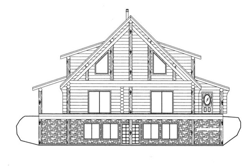 Log Exterior - Front Elevation Plan #117-826 - Houseplans.com